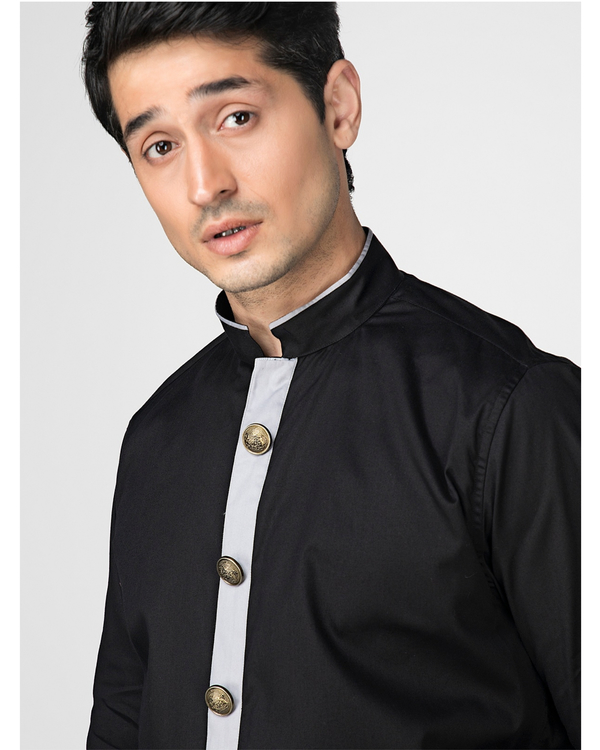 Black ethnic shirt with contrast panel detailing 1