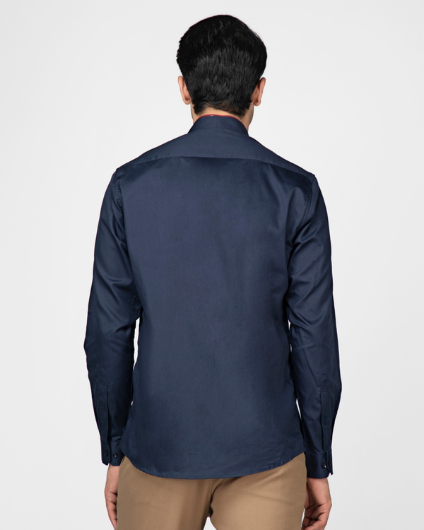 Navy blue ethnic shirt with contrast panel detailing 3