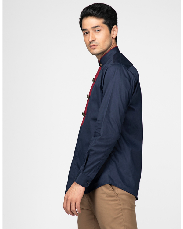 Navy blue ethnic shirt with contrast panel detailing 2