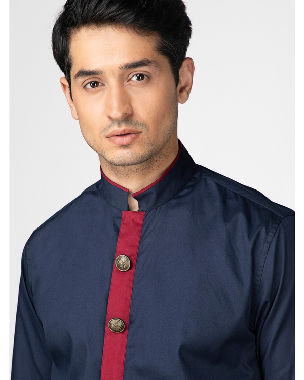 Navy blue ethnic shirt with contrast panel detailing 1