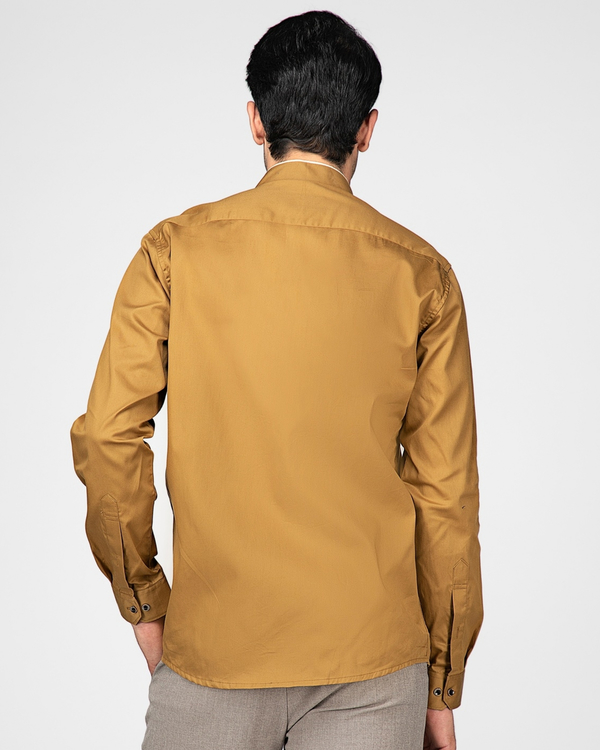 Sand brown ethnic shirt with contrast panel detailing 3