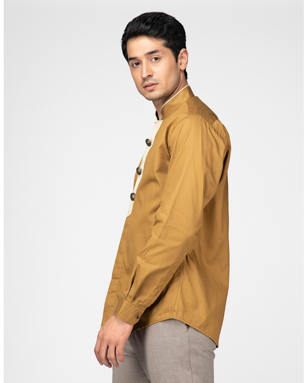 Sand brown ethnic shirt with contrast panel detailing 2