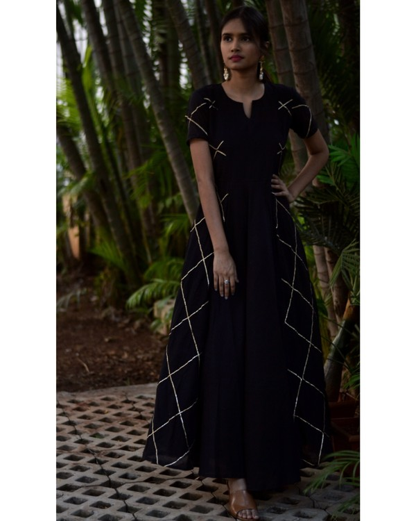 Black diamond cage panelled gota dress 2