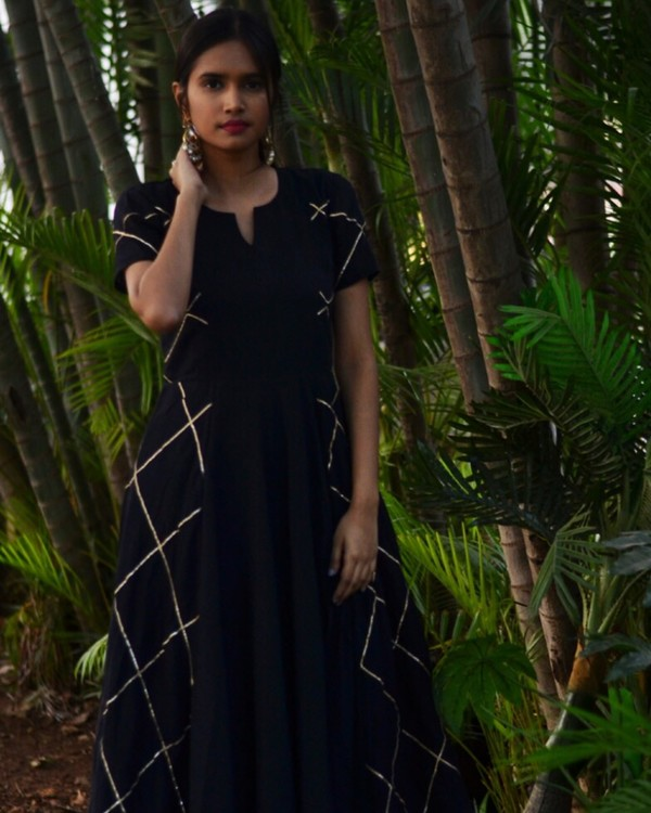 Black diamond cage panelled gota dress 1