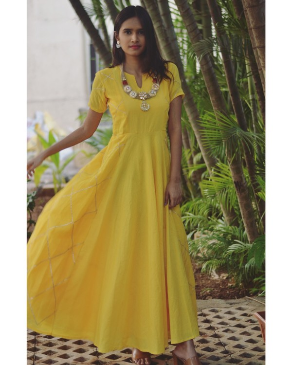 Yellow diamond cage paneled gota dress 2