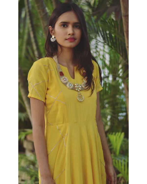 Yellow diamond cage paneled gota dress 1