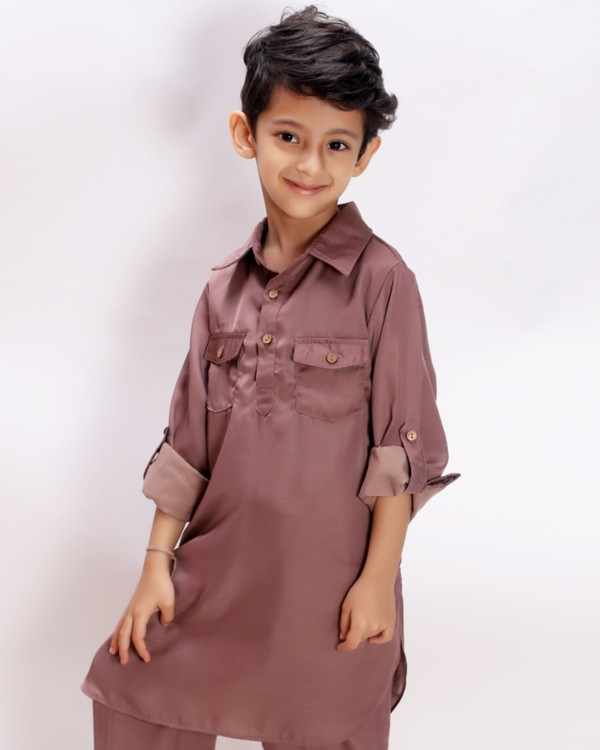 Tan brown pathani kurta and salwar set - set of two 1
