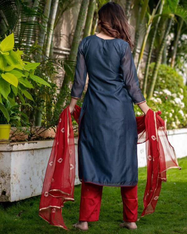 Ash grey pittan work kurta and pants with red bandhani dupatta set - set of three 3