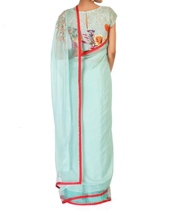 Soft sea green sari with printed blouse 3