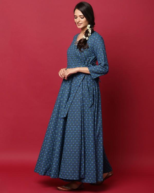 Blue floral printed angrakha dress 2