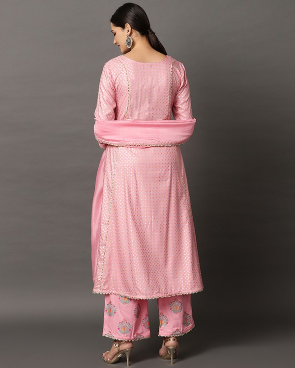 Baby pink gota anarkali and printed palazzo with dupatta set- set of three 3