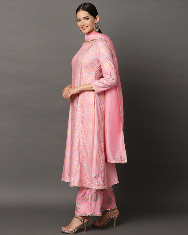 Baby pink gota anarkali and printed palazzo with dupatta set- set of three 2
