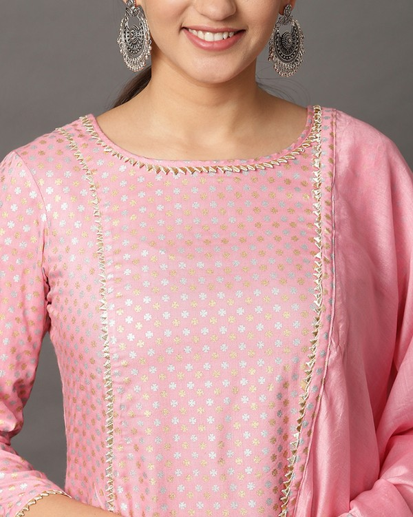 Baby pink gota anarkali and printed palazzo with dupatta set- set of three 1