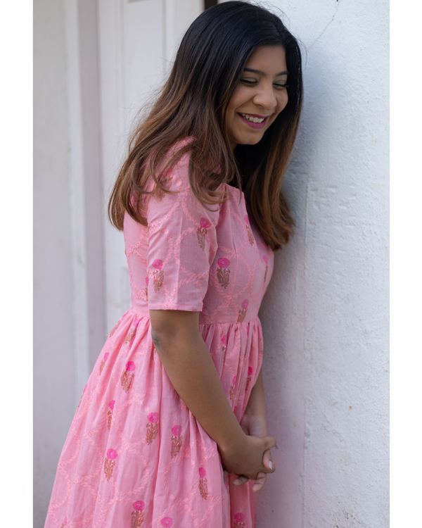 Taffy pink floral embroidered dress 1