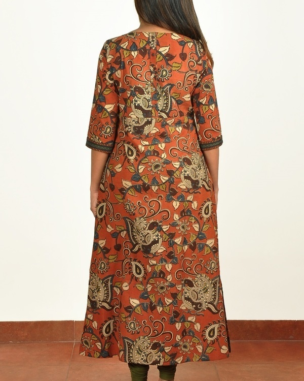 Rust kalamkari printed cotton long kurti 1