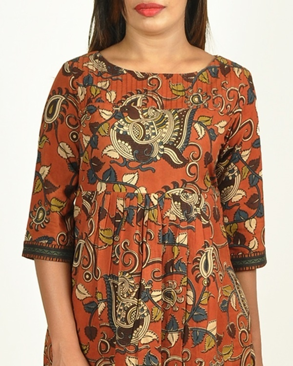 Rust kalamkari printed cotton long kurti 2