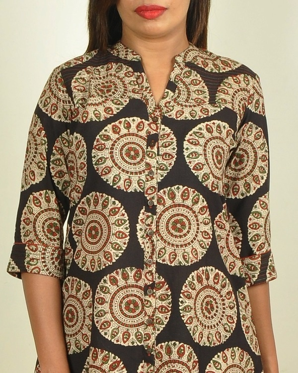 Black block printed asymmetrical kurti 2