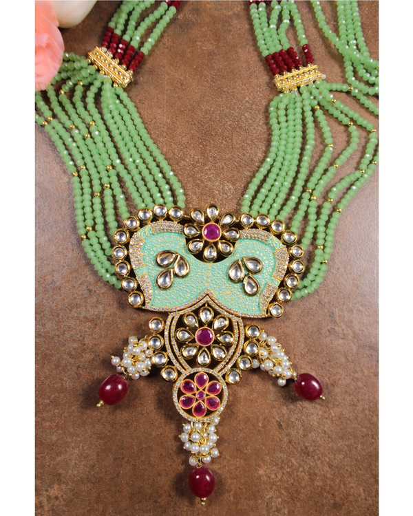 Mint green meenakari and kundan necklace and earring set - set of two 1