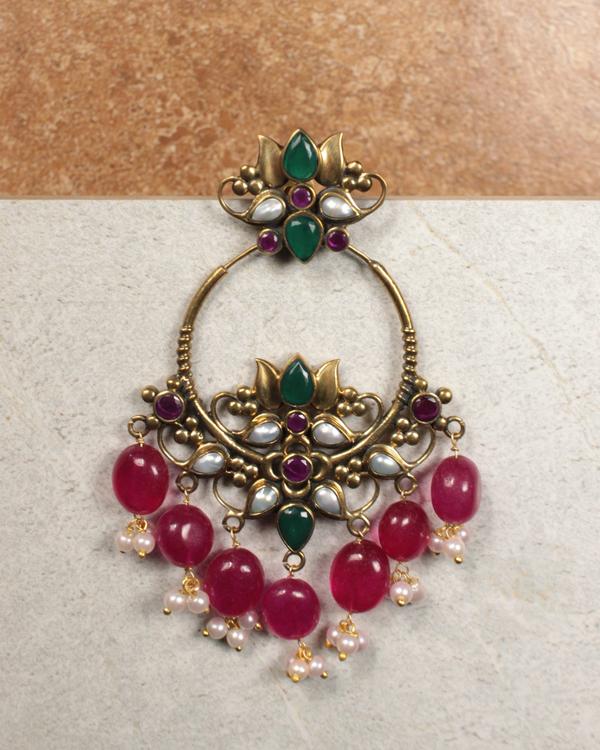 Pankaja Beads And Pearl Hoop Earrings 1
