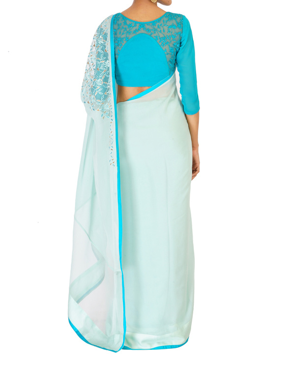 Sea green crystal work sari with a azure blouse 3