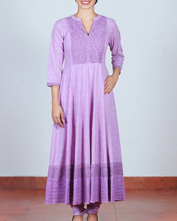 Set of Lavender Anarkali & Churidar 1