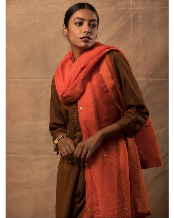 Dark brown kurta and pants with orange dupatta set- set of three 1