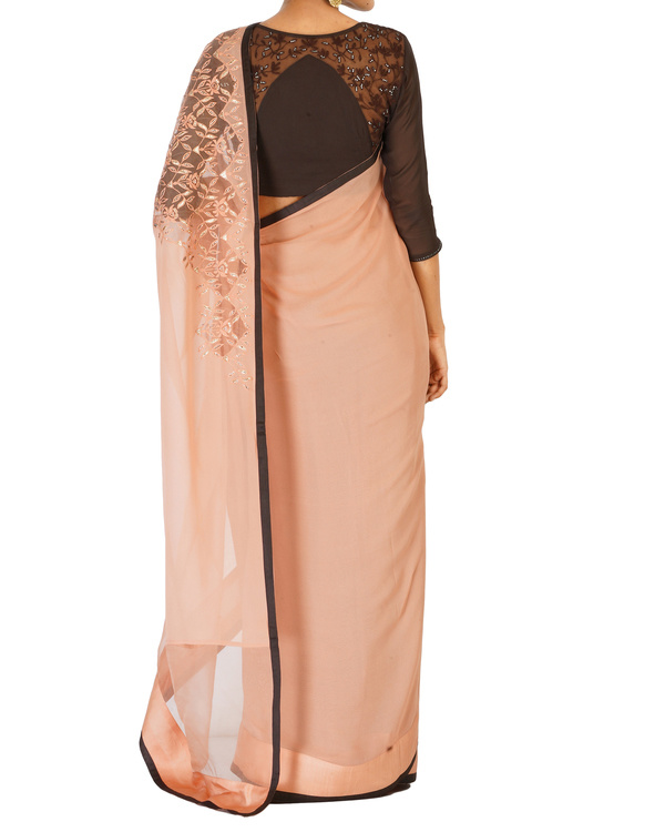 Soft pink crystal work sari with coffee blouse 3