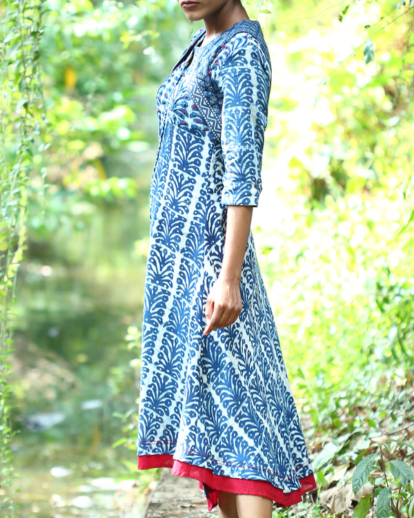 Indigo kurta with short cut away jacket 1
