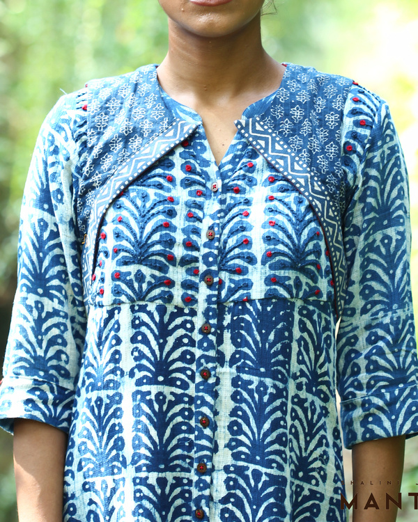Indigo kurta with short cut away jacket 3