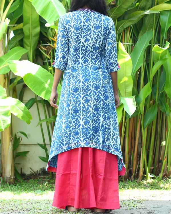 Indigo cotton tunic with fuschia palazzo pants 1