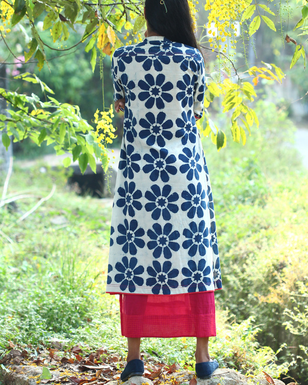 Floral printed indigo tunic 1