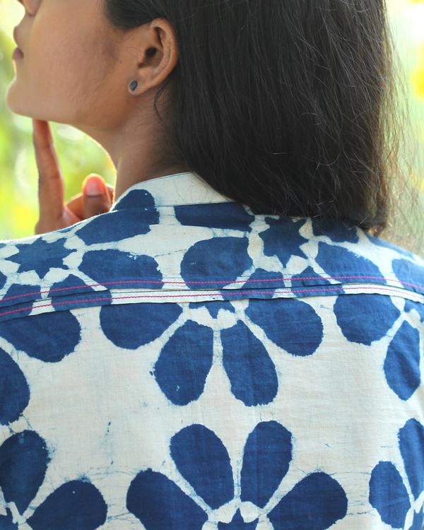 Floral printed indigo tunic 2