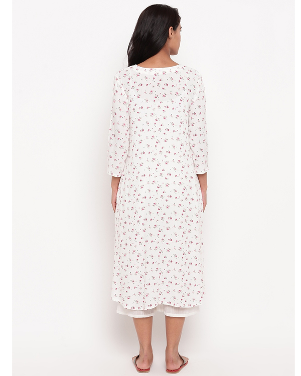White and pink floral crinkled kurta 3