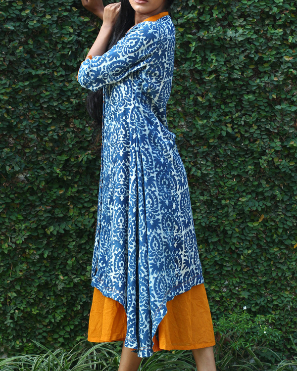 Indigo cotton tunic with yellow long dress 1