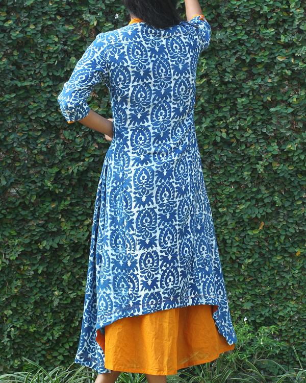 Indigo cotton tunic with yellow long dress 2