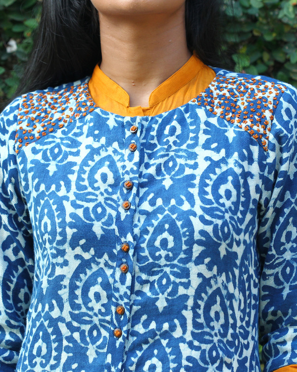 Indigo cotton tunic with yellow long dress 3
