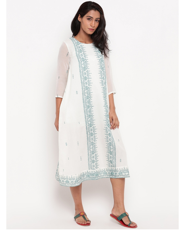 White and sea green panel printed dress 2