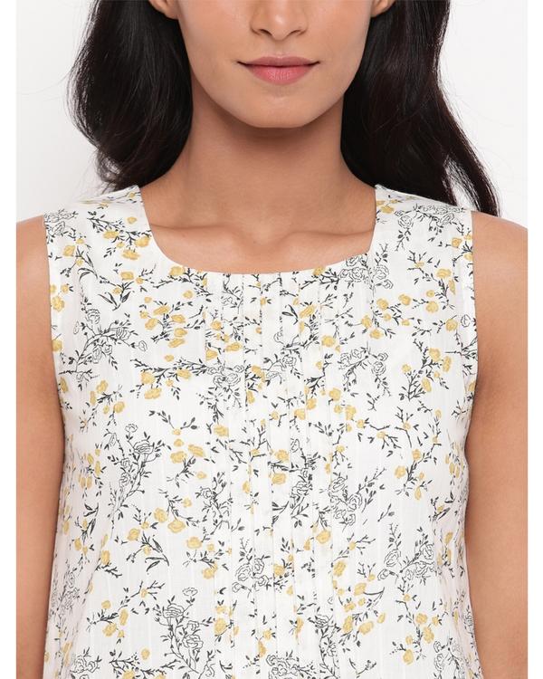 White and yellow floral kurta 1