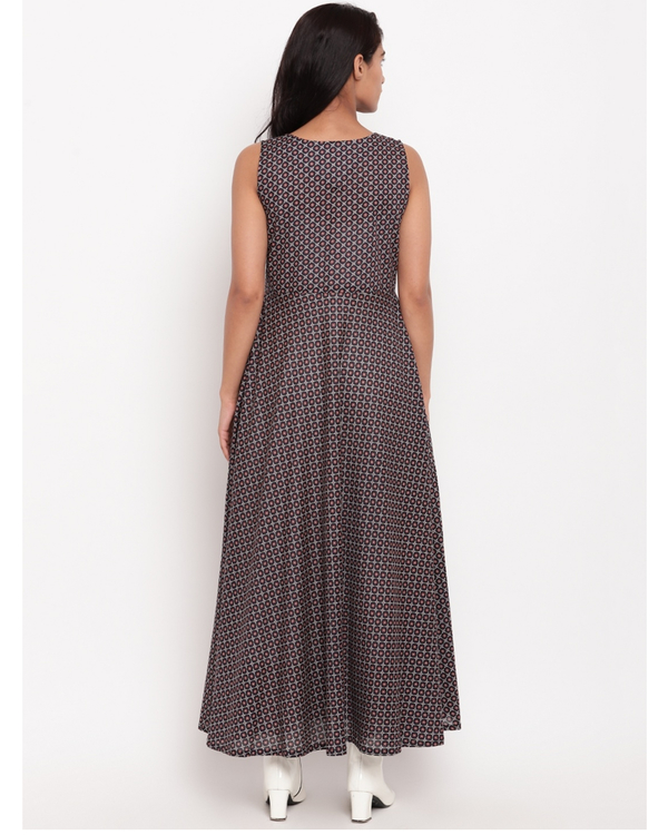 Deep blue grid printed dress 3