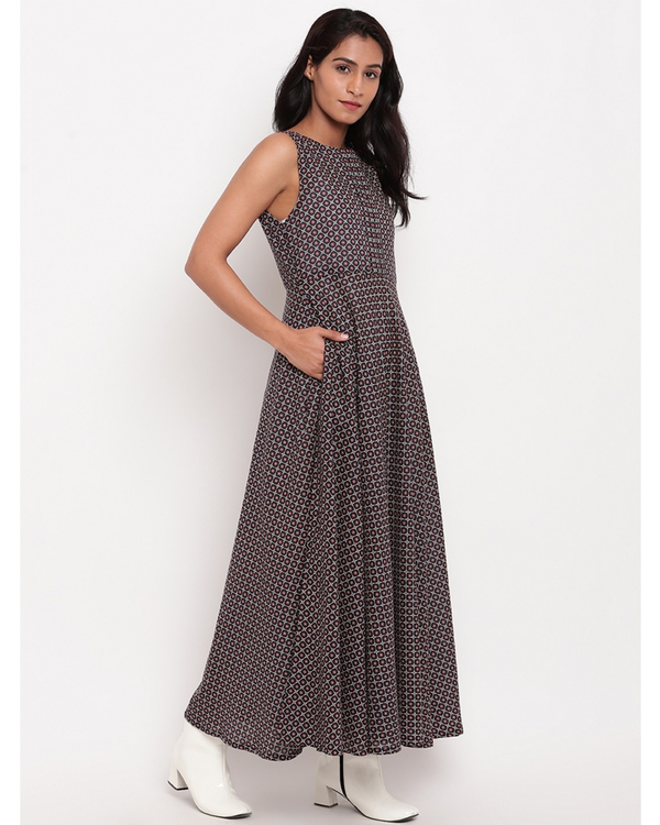 Deep blue grid printed dress 2