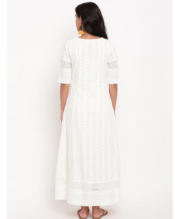 Ivory floral chikankari dress 3