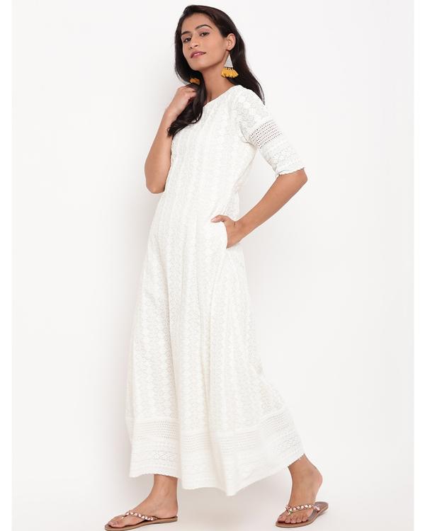 Ivory floral chikankari dress 2