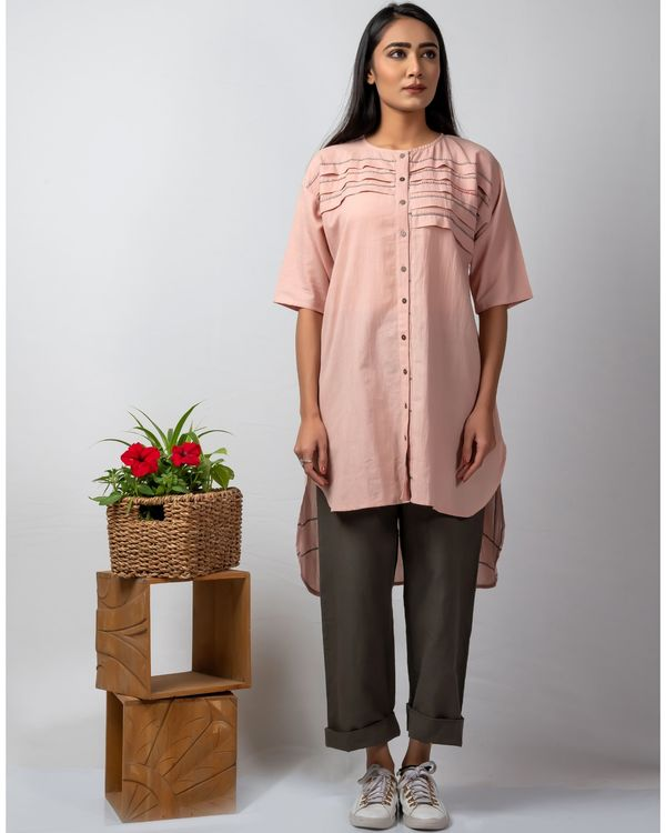 Pink and grey embroidered high low kurta 2