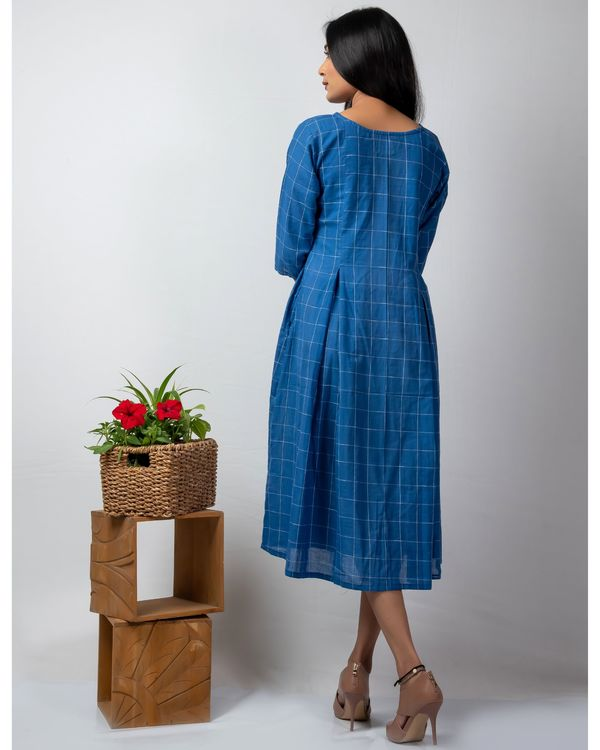 Blue checkered dress with embroidery 2