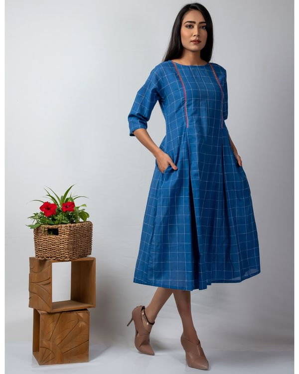 Blue checkered dress with embroidery 1