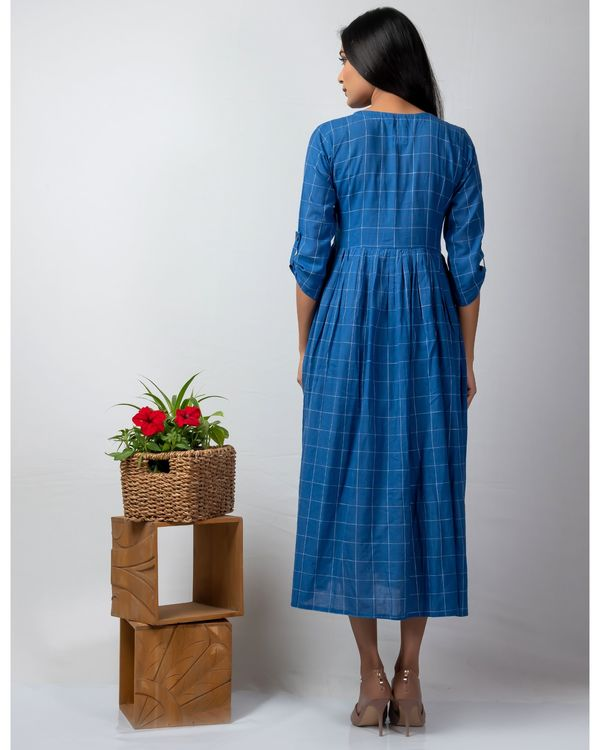 Blue checkered button down dress with katha embroidery 2