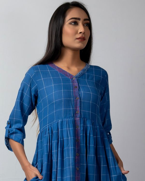 Blue checkered button down dress with katha embroidery 1