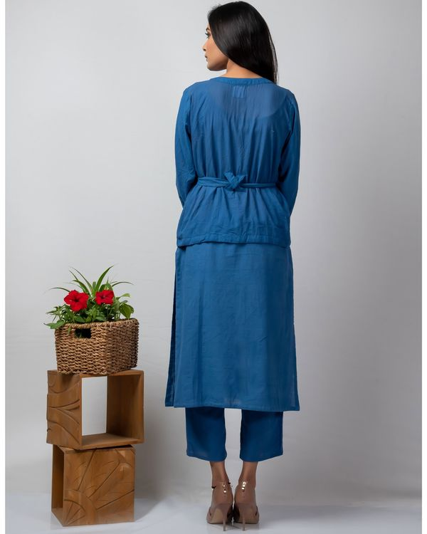 Blue applique belt jacket and kurta with blue pants set- Set Of Three 3