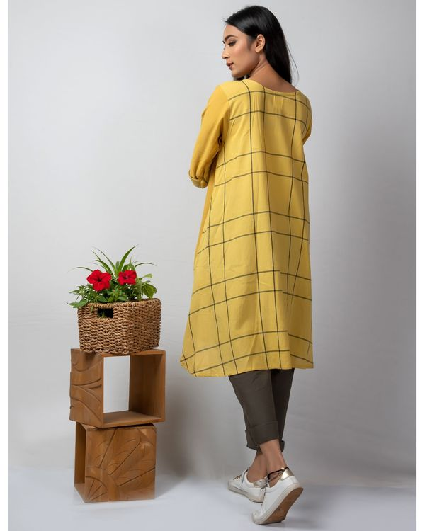 Mustard yellow boxy high low kurta 2