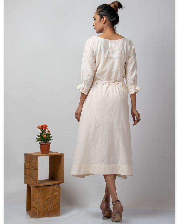 Off white kantha embroidered yoke dress 2